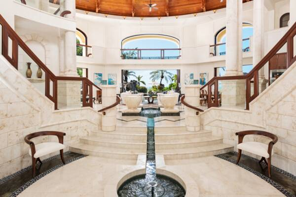 interior of the main room at Emerald Cay Estate in the Turks and Caicos