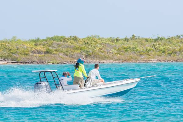 bonefishing skiff cruising in the Turks and Caicos