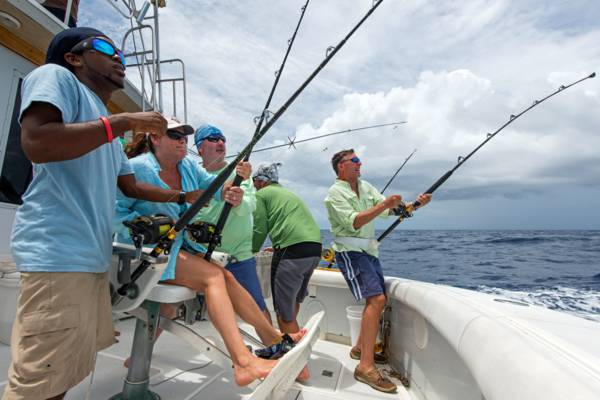 reeling in the catch on a sport fishing excursion