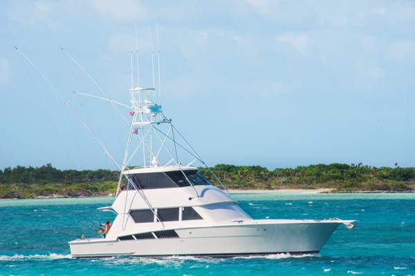 a deep sea sport fishing boat in Leeward Going Through Channel near Providenciales