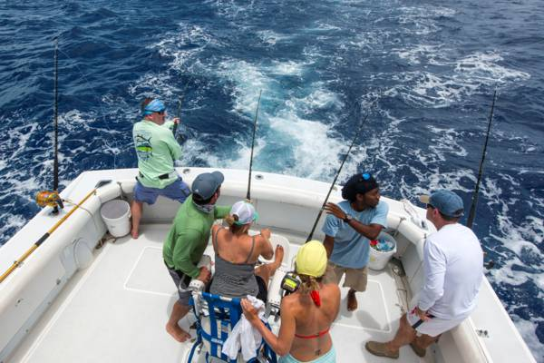 reeling in fish on a deep sea sport fishing charter