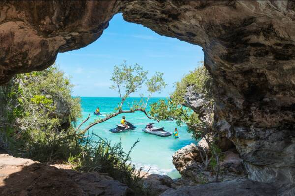 jet skis and small cave in the Turks and Caicos