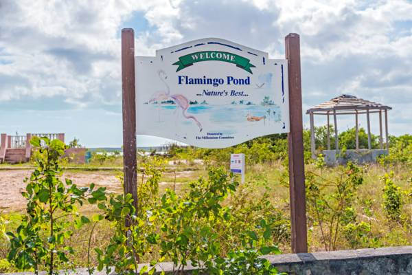 road sign at Flamingo Pond Overlook on North Caicos