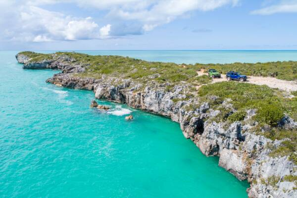 aerial view of Jeep Wranglers at West Harbour Bluff in the Turks and Caicos.