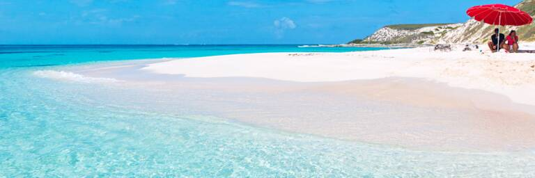 The white sand beach at Gibbs Cay in the Turks and Caicos