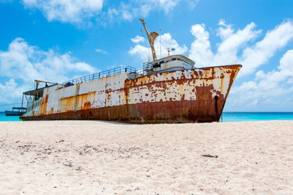 the Mega One Triton wreck on Governor's Beach