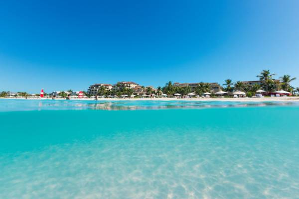 clear ocean water at Grace Bay Beach in the Turks and Caicos