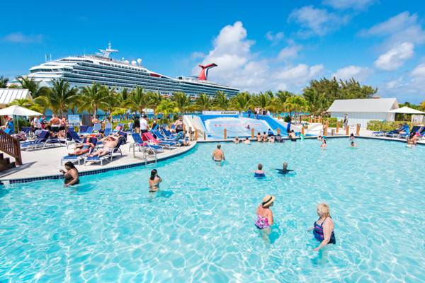 cruise ship and the swimming pool at the cruise center in the Turks and Caicos