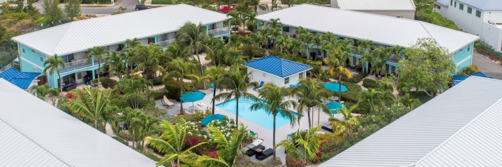 Island Club hotel and Grace Bay on the island of the Providenciales
