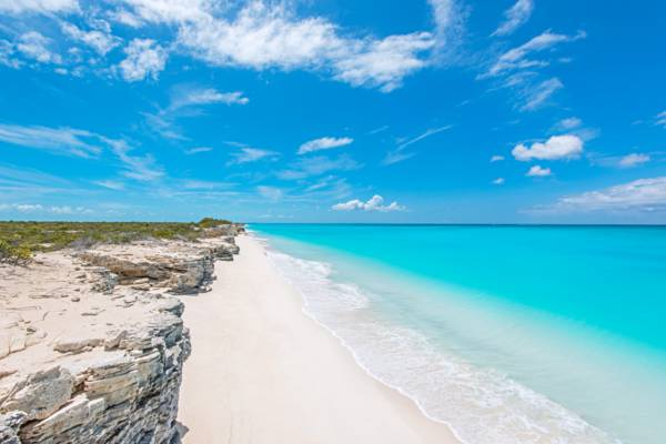 secluded beach and cliffs at Water Cay