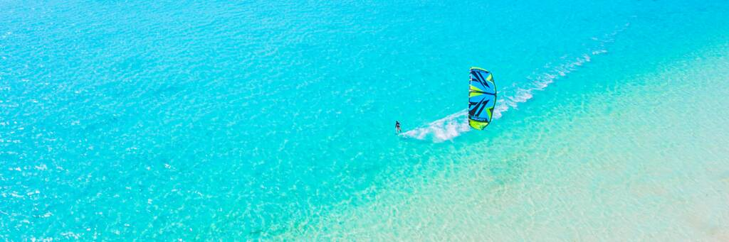 kiteboarding at Long Bay Beach in Turks and Caicos