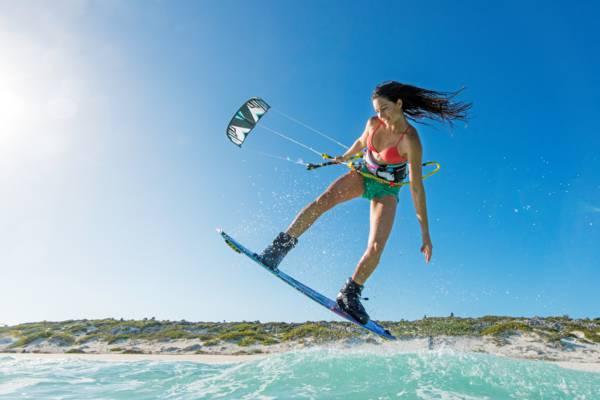 kiteboarder jumping at Long Bay Beach