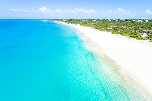 aerial view of Leeward Beach in the Turks and Caicos