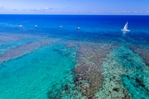 aerial view of boat at Leeward Reef in the Turks and Caicos