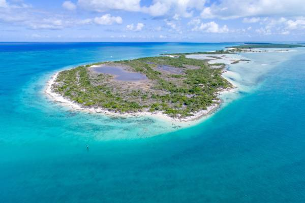 aerial view of Little Water Cay in the Turks and Caicos