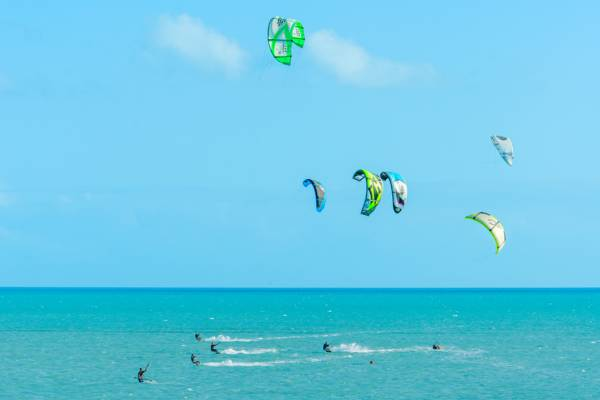 kiteboarding at Long Bay Beach in the Turks and Caicos