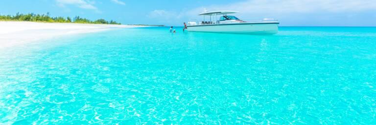 Axopar yacht at Half Moon Bay in the Turks and Caicos
