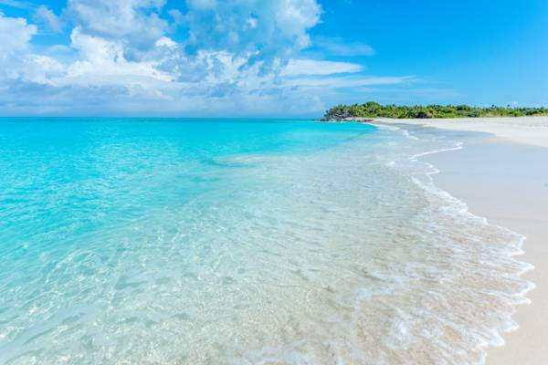 beautiful ocean water at Half Moon Bay in the Turks and Caicos