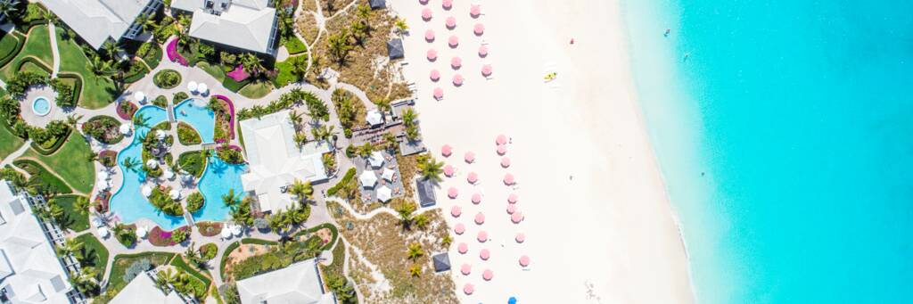 aerial view of Ocean Club West resort on Grace Bay Beach in the Turks and Caicos