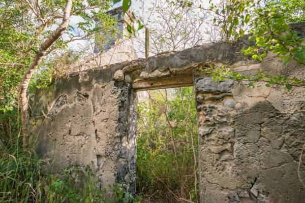 doorway of a remote Loyalist ruin in the Turks and Caicos