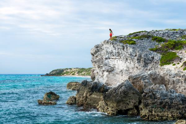 hiking on the soft limestone coastal cliffs at the Highlands in South Caicos