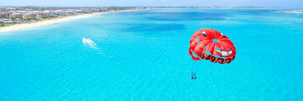 parasailing off Grace Bay Beach at Providenciales