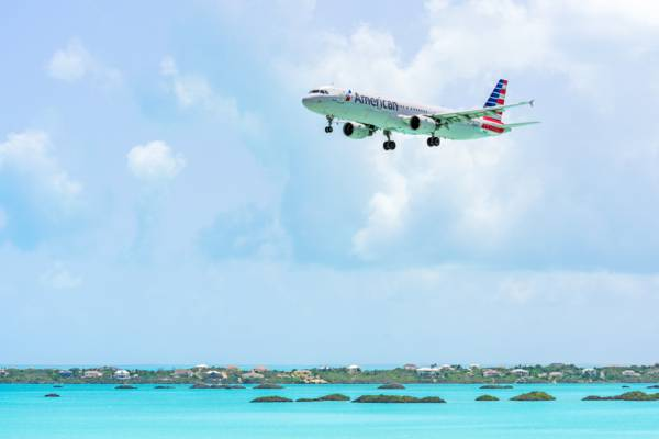 American Airlines plane approaching Providenciales over Chalk Sound