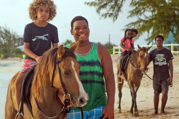 horseback riding on the beach in the Turks and Caicos