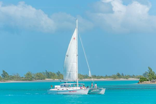 sailing catamaran at Providenciales, Turks and Caicos.