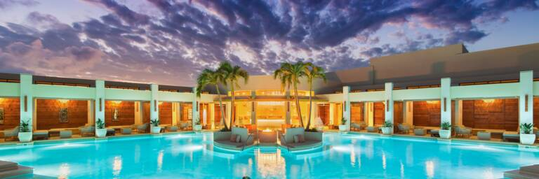 the beautiful swimming pool at the Shore Club at sunset