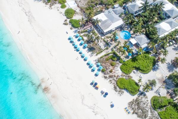 aerial view of Sibonné Beach Hotel on Grace Bay Beach in the Turks and Caicos.