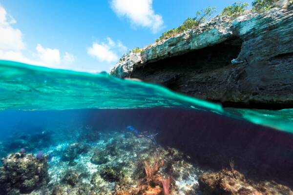 underwater cave in Turks and Caicos