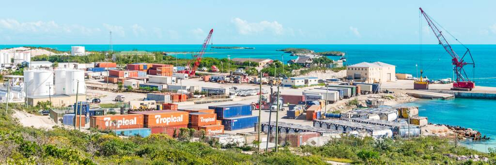 South Dock port on Providenciales and shipping containers