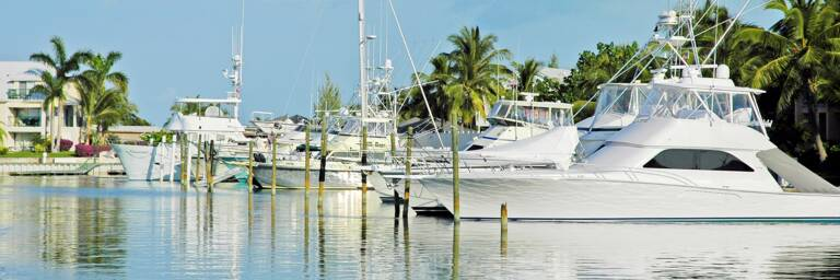 sport fishing boats docked at Turtle Cove Marina