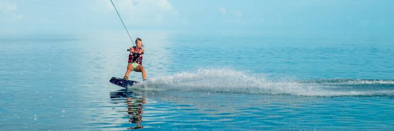 wakeboarding on perfect conditions in the Turks and Caicos
