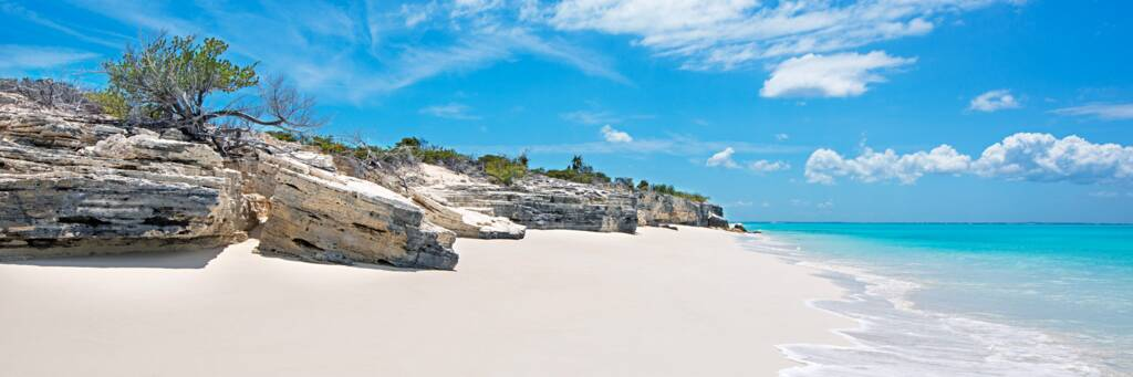 the white cliffs and beach at Water Cay