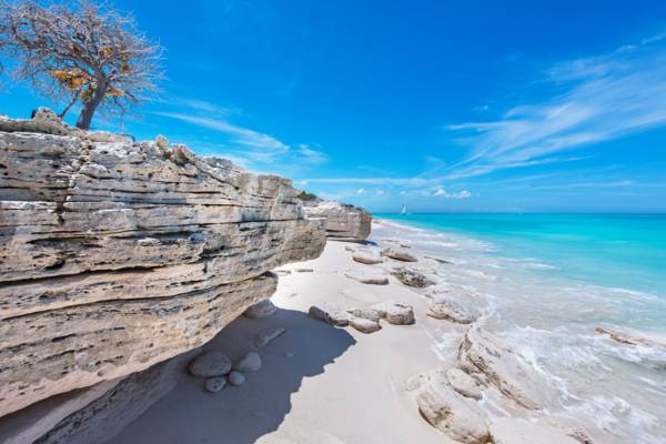 soft limestone cliff on the beach at Water Cay